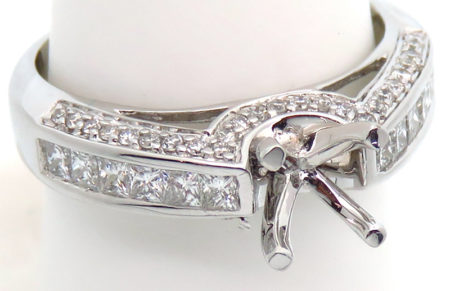 14k white diamond semi mount