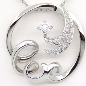 14kw diamond pendant with .17cttw and chain
