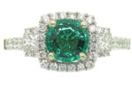 14kt White Gold Emerald and Halo Diamond Ring