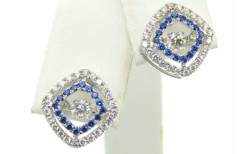 Sapphire and Dancing Diamond Earrings