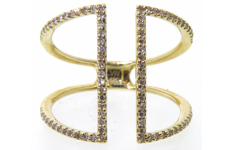 14 karat yellow diamond ring with 82 round diamonds totalling .26cttw