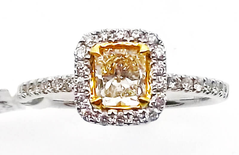 18k Two-tone Yellow Diamond Ring