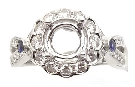 14kt white gold semi-mount with .53ctw diamonds and .15ctw sapphires. Center will accommodate a .80ct or larger
