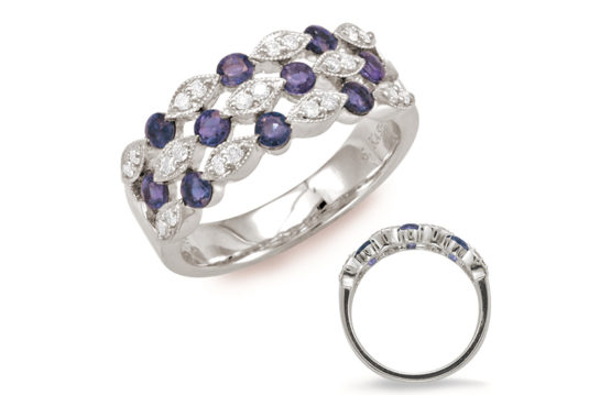14kt white gold lds ring with .20ctw diamonds and .74ctw sapphires