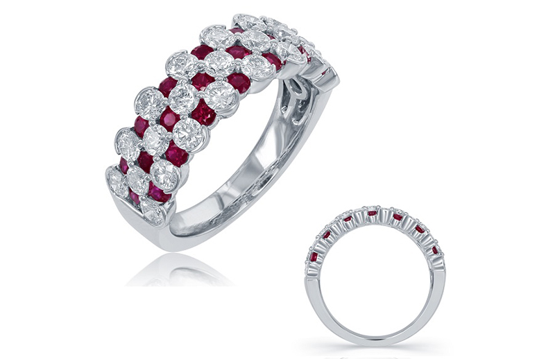 14kt white gold ring with 1.43ctw diamonds and .93ctw rubies