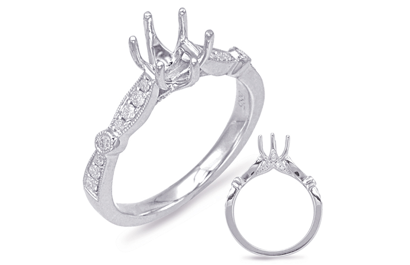 14kt white gold semi-mount with .26ctw diamonds (matching wedding band Item #550)