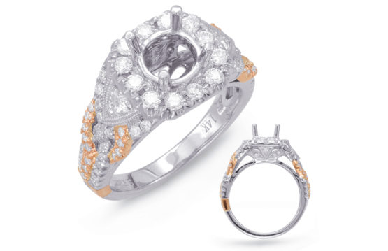 14kt white and rose gold halo semi-mount with .94ctw diamonds (matching wedding band item #552)