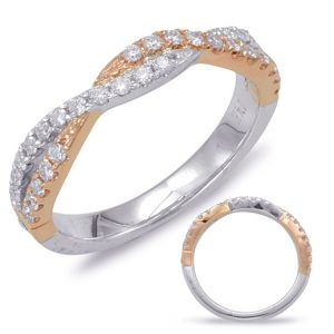 """14kt white and rose gold """"twisted"""" wedding band with .36ctw diamonds (matching band to item #551)"""