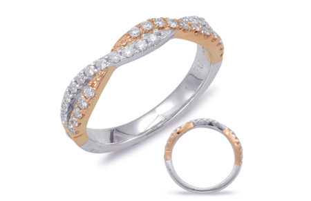 "14kt white and rose gold ""twisted"" wedding band with .36ctw diamonds (matching band to item #551)"