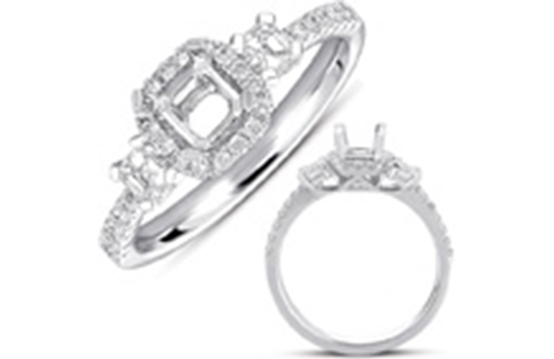 14kt white gold halo semi-mount with .61ctw diamonds