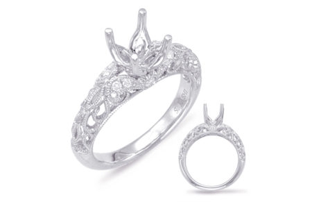 14kt white gold semi-mount with .14ctw diamonds