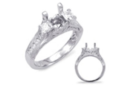 14kt white gold semi-mount with .76ctw diamonds