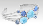 Sterling silver, larimar, and blue spinel cuff bracelet. Karisma collection.