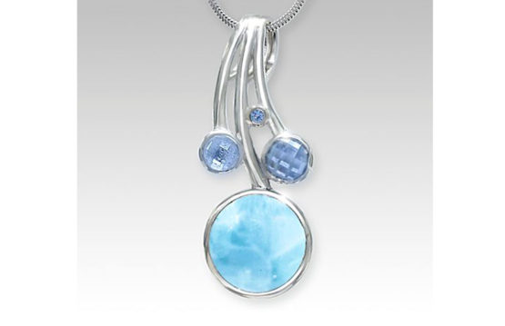 Sterling silver, larimar, and blue spinel pendant. Karisma collection.