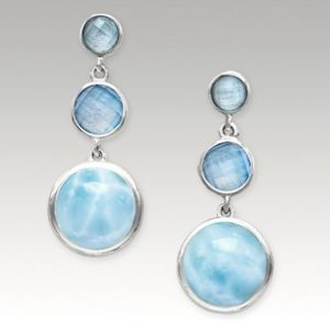 Sterling silver, larimar, and blue spinel earrings. Karisma collection.