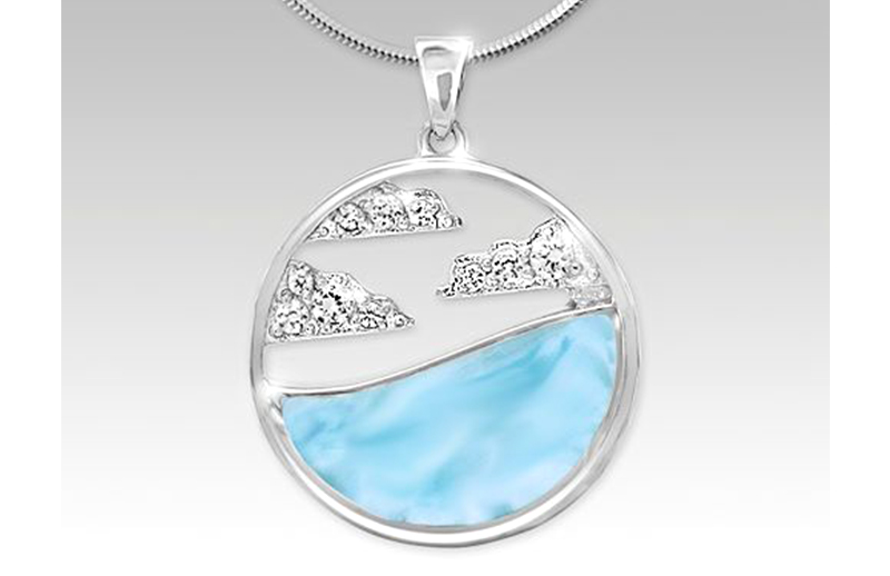 Sterling silver, larimar, and white sapphire necklace. Cloud collection.