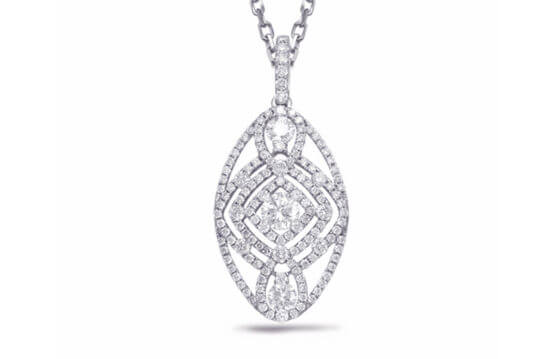 14kt white gold and .85ctw diamonds pendant.