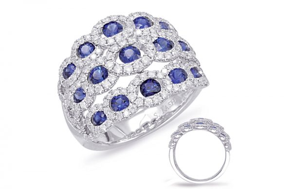 14kt white gold with .87ctw diamonds and 1.31ctw sapphires.