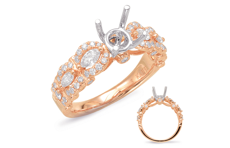 14kt rose gold with .67ctw diamond semi-mount