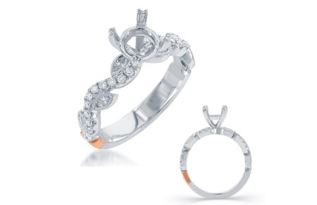 14kt white gold with .40ctw diamonds semi-mount