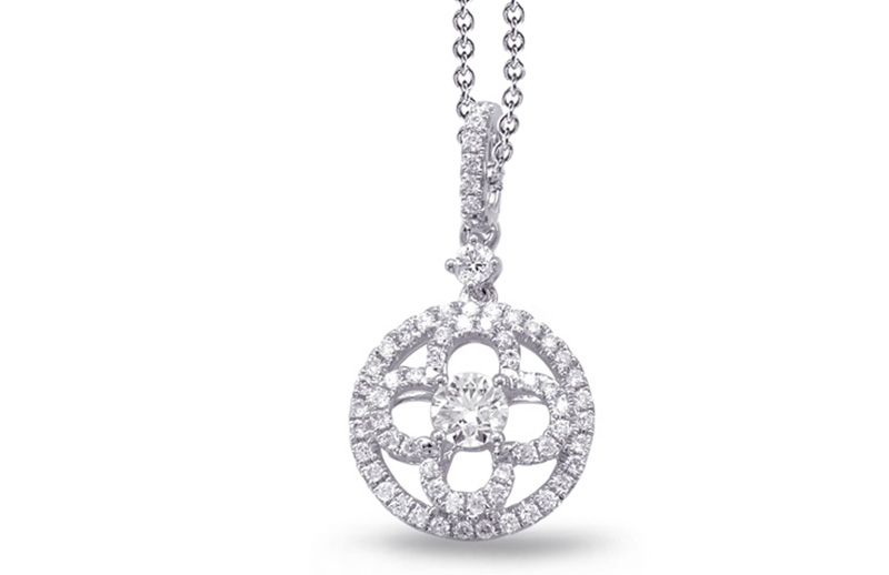 14kt white gold with .42ctw diamond pendant