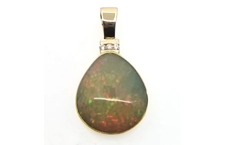 14kt Yellow Gold Wollo Opal and Diamond Pendant