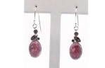 Sterling Silver and Red Oval Cabachon Stone Earrings