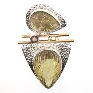 Sterling Silver and Yellow Stone Pendant