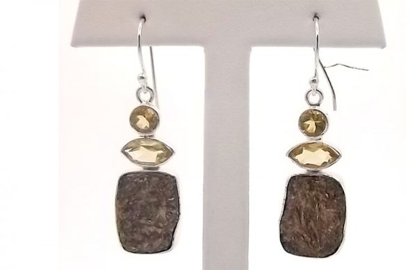 Sterling Silver and Brown Stone Earrings