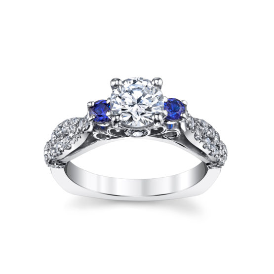 14kt white gold lds diamond and sapphire ring semi-mount. .43ctw diamonds/.43ctw sapphires (shown with a cubic zirconia in center)