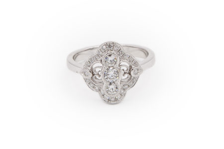 14kt White Gold Diamond Filigree Ring