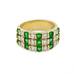 18kt Yellow Gold Emerald and Diamond Ring