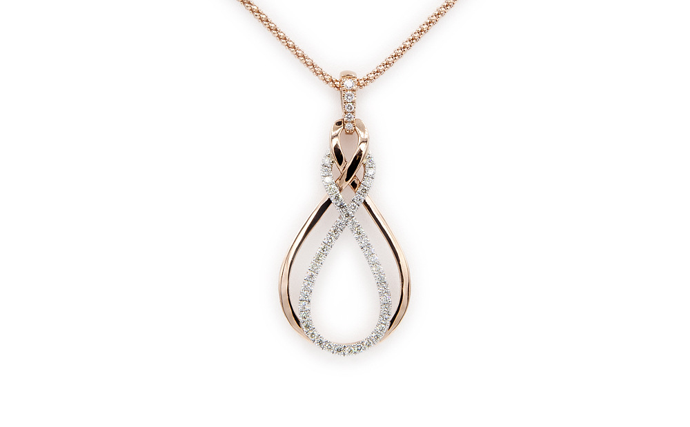 14kt Rose and White Gold and Diamond Pendant