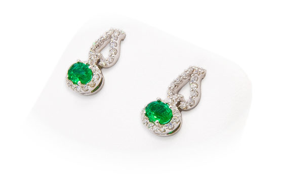 14kt White Gold Emerald and Diamond Dangle Earrings
