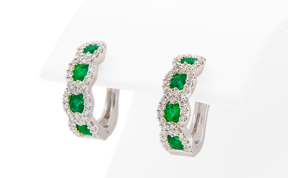 14kt White Gold Emerald and Diamond Hoop Earrings